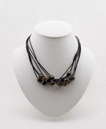 Women's Brown Baroque Pearl Necklace 17-Inch Black Leather Cords Silver Plated Clasp EE-305A