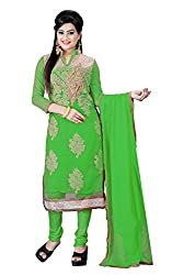 Aarsh Apparel Green Net Embroidery Aline Semistiched Dress Material