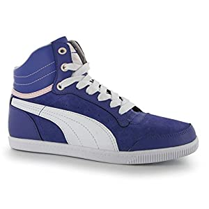 Puma Womens Glyde Court Ladies Hi Top Trainers Blue/White UK 5