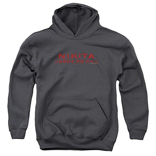 Nikita-Felpa con cappuccio, ragazzo, con Logo Nero  grigio