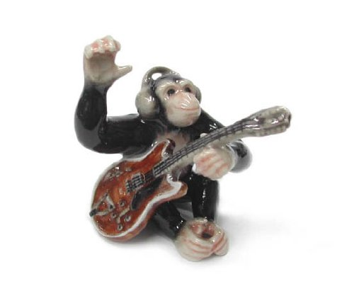 Chimpanzee Plays Electric Guitar Wears Headphones New Miniature Porcelain Figurine Northern Rose Mb030