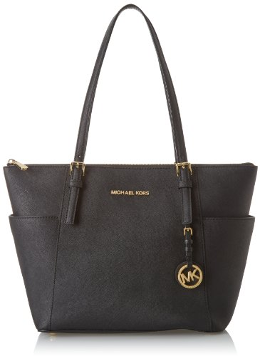 Michael Kors Jet Set Top-Zip Saffiano Leather Borsa Tote, Donna, Nero