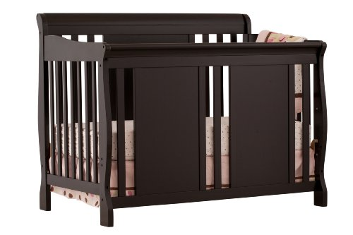 Stork Craft Verona 4-In-1 Fixed Side Convertible Crib, Black