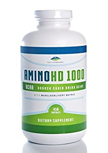 Amino Acid Supplement - AminoHD1000 BCAA - 450 Capsules (Huge Bottle!) with No Additives or Excipients