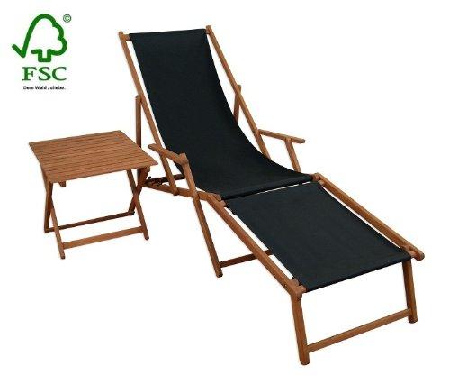 Sonnenliege Gartenliege Deckchair Saunaliege inkl. abnehmbarem Fußteil + Tisch jetzt bestellen