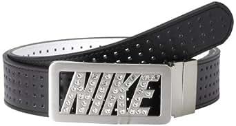 Nike Golf Women's Rhinestone Logo Reversible Perforated Leather Belt, Black/White, X-Small