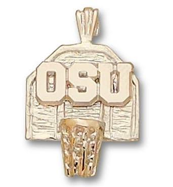 Ohio State Buckeyes OSU Basketball Backboard Pendant - 14KT Gold Jewelry by Logo Art