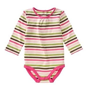 "Striped Long Sleeve Bodysuit ""Little Field Mouse"" Baby Girl 12-18 months by Gymboree"