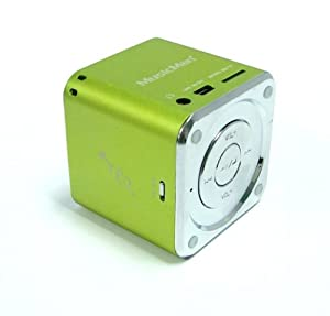 MusicMan TXX3529 Mini Soundstation (MP3 Player, Stereo Lautsprecher, Line In Funktion, SD/microSD Kartenslot) grün