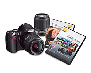 Nikon D40 6.1MP Digital SLR Camera with 18-55mm f/3.5-5.6G ED II AF-S DX and 55-200mm f/4.5-5.6G ED AF-S DX Zoom-Nikkor Lens with 2 Nikon School DVD