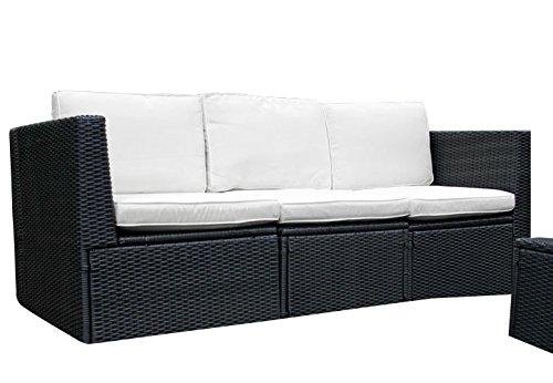 Gartenmöbel 3tlg. Sitzgruppe Poly Rattan Lounge Garten Garnitur Couch creme jetzt bestellen