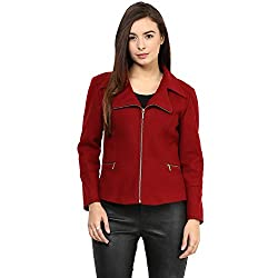 RARE Red Solid Full Sleeve Women's Jacket