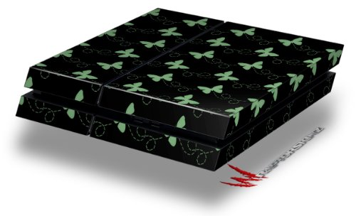 Pastel Butterflies Green on Black - Decal Style Skin fits original PS4 Gaming Console pastel heart wall decal