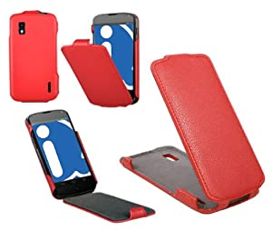 iTALKonline PREMIUM PU LEATHER RED Clip On Flip Case/Cover/Pouch For LG E960 Nexus 4