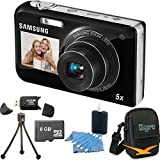 Samsung PL170 DualView 16 Megapixel Black Digital Camera, Dual LCDs, 5x Wide-Angle Zoom Lens, HD Video, Dual Image Stabilization. Bundle Includes 8 GB Memory Card, Card Reader, Deluxe Carrying Case, Mini Tripod, and 3Pcs. Lens Cleaning Kit.