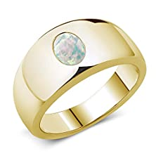 buy 1.05 Ct Oval Cabouchon White Aaa Opal 14K Yellow Gold Men'S Ring