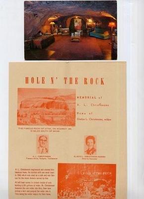 Hole N' The Rock Memorial and Home Brochure & Postcard UTAH 1960's Christensen