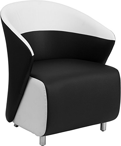 Flash Furniture Black Leather Reception Chair With White Det