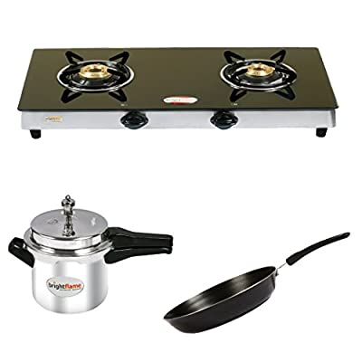 Brightflame 2 Burner Black Gas STove & Aluminium Pressure Cooker 3 Ltr & Fry Pan Medium
