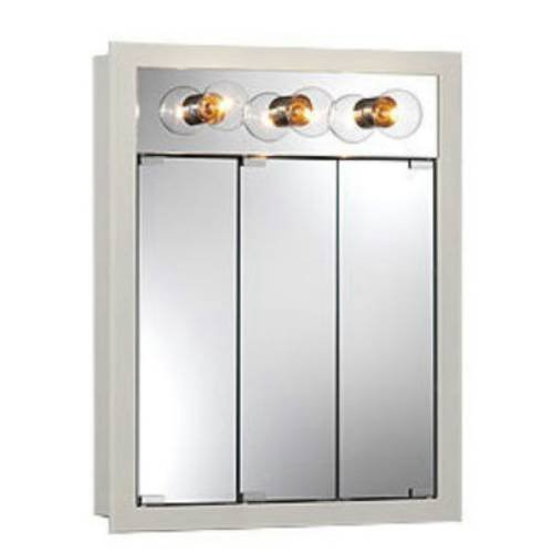 Nutone 755363 Tri-View Wood Medicine Cabinet in White with 3 Light 755363