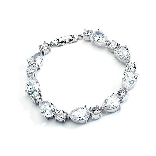 Mariell-Glamorous-CZ-Bridal-Bracelet-Pear-Shaped-and-Round-Cut-Ideal-Wedding-and-Bridesmaids-Jewelry