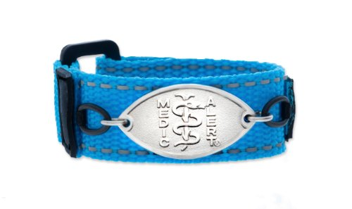 """Wham! Blue Kids Sports Medical Id Band Designed By Medicalert® """"Food Allergy"""" I.E. Peanut, Egg, Fish, Milk, Nuts, Shellfish, Soy, Wheat (5 Inches) front-203716"""