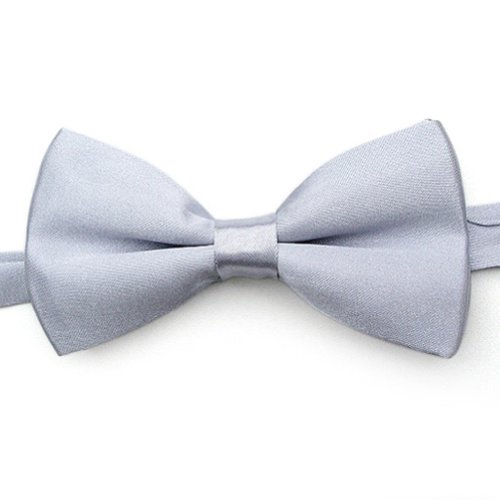 Toptie Mens Formal Solid Color Satin Banded Bow Tie, Gift Idea Silver-Onesize