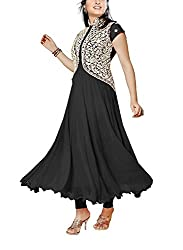 HK Trading Women's Faux Georgette Unstitched Dress Material (MHARI84361773350_Black_Free Size)