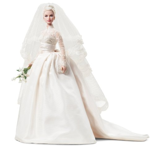 41wzUJk5kiL Cheap Price Mattels Barbie Princess Grace Kelly Bride in Silkstone