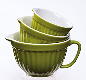 Evergreen Enterprises 3MCC002 Green Ceramic Nested Measuring Cup - Set of 3