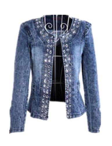 Girls Retro Cool Long Sleeve Blue Jean Denim Shirt Jacket (Xl ( Us  L))