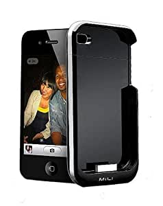 MiLi Power Spring 4 HI-C23 External Battery Case 1600 mAh Capacity for iPhone 4 (Black/Silver) (Fits AT&T iPhone)