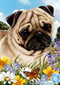 Pug Fawn Dog - Tamara Burnett Summer Flowers Outdoor Garden Flag 12'' x 17''