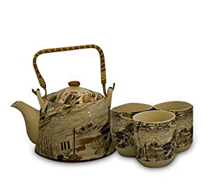 Asian Scene in Taupe, 7-Piece Tea Set