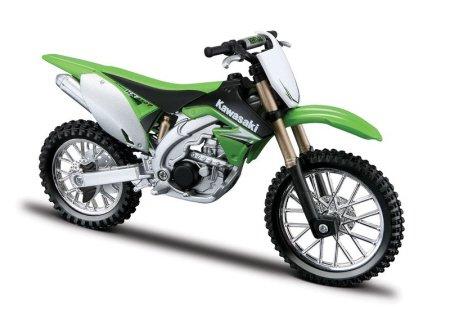 Kawasaki KX 450F in green model kit from Bburago 1:18 scale