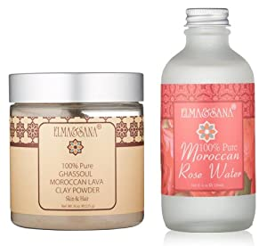 ELMA&SANA® Organics Moroccan Rose Water(4oz) and Khassoul Clay Set(8oz)