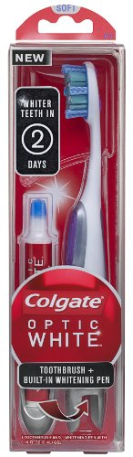 Colgate Optic White Toothbrush Plus Whitening Pen, Compact Head Soft