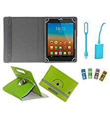 Gadget Decor (TM) PU Leather Rotating 360° Flip Case Cover With Stand For Anwyn AERO-AW-T702  + Free USB Card Reader + Free USB Led Light - Green