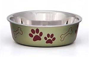 Loving Pets Metallic Bella Bowl for Pets, Small, 1-Pint, Artichoke