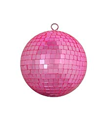 "Bubblegum Pink Mirrored Glass Disco Ball Christmas Ornament 6"" (150mm)"