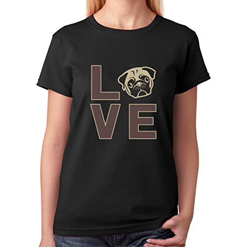 TeeStars - Love Pugs - Gift For Dog Lovers Cute Pug Face Women T-Shirt X-Large Black