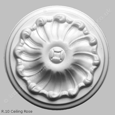 Pack of 2x R10 Ceiling Roses. A traditional ceiling rose, round, detailed and at 6 inches, small in size. Ideal for any small room.