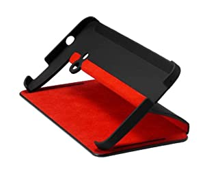 HTC Double Dip Flip Case for HTC One - Retail Packaging - Black/Red