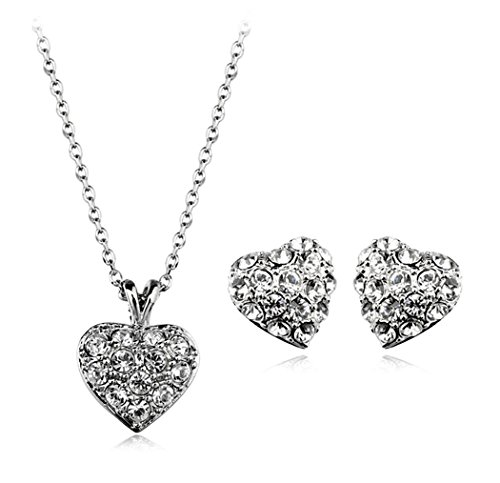 Heart With Clear Swarovski Cubic Zirconia Elements Crystal Pendant Necklace Earrings Set Fashion Jewelry