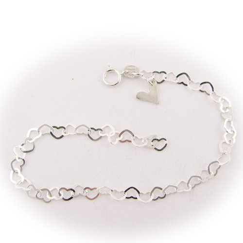 Sterling Silver Flat Heart Link Charm Anklet