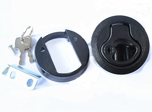 "Amarine-made Black 2"" Flush Pull Slam Latch for Boat Deck Hatch 1/4"" Door Locking Style -"