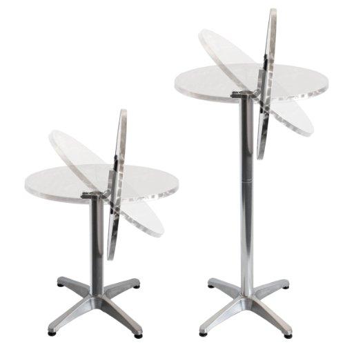 Torrex-30152-Bistrotisch-Stehtisch-klappbar-aus-Aluminium-mit-Edelstahlplatte-Hhe-75cm-oder-110cm--60cm