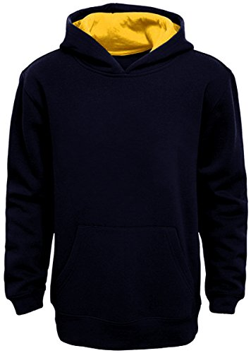 Boy's Pullover Hoodie (Large, Navy Blue-Yellow)
