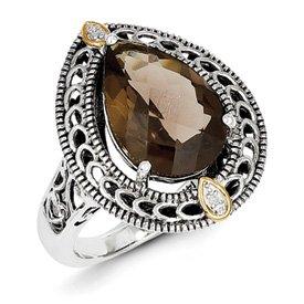 Genuine IceCarats Designer Jewelry Gift Sterling Silver W/14K Diamond & Smokey Quartz Ring Size 8.00