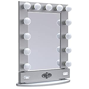 broadway lighted vanity mirror silver x 26 5. Black Bedroom Furniture Sets. Home Design Ideas